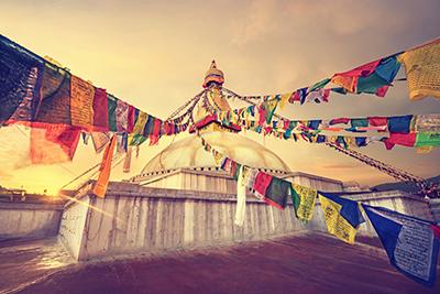 Stupa and prayer flags
